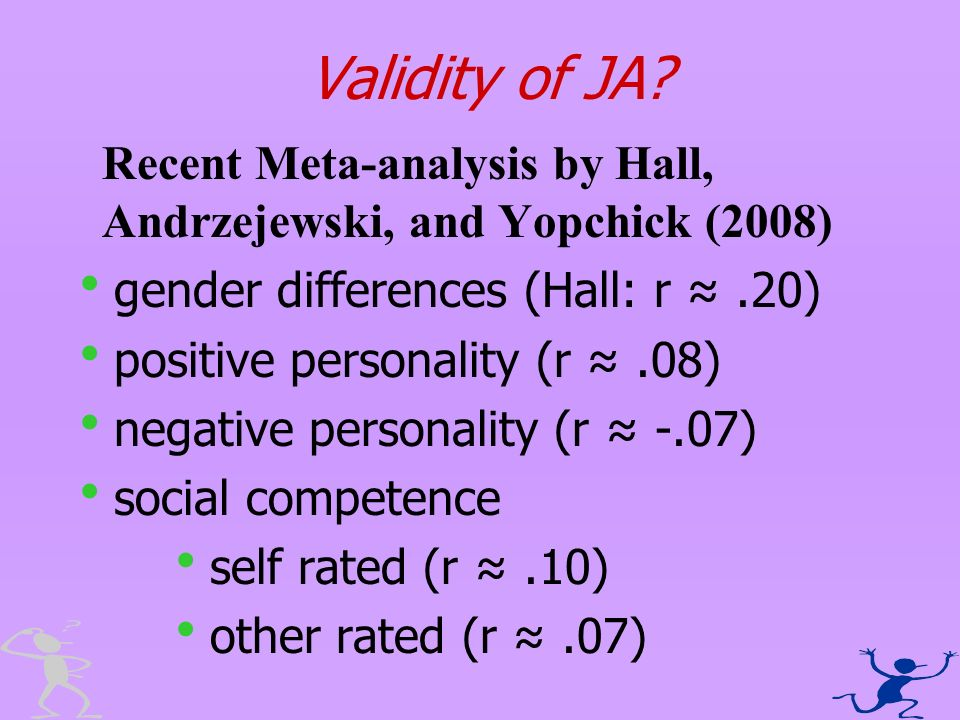Validity of JA? Recent Meta-analysis by Hall, Andrzejewski, and Yopchick (2008) gender differences (Hall: r.20) positive personality (r.08) negative p
