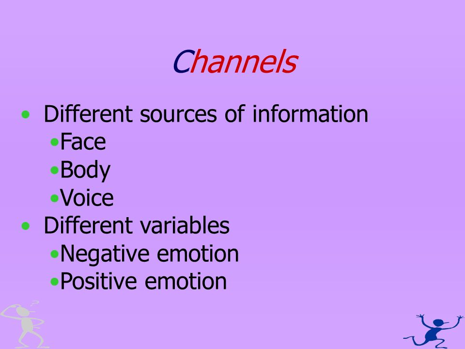 Channels Different sources of information Face Body Voice Different variables Negative emotion Positive emotion