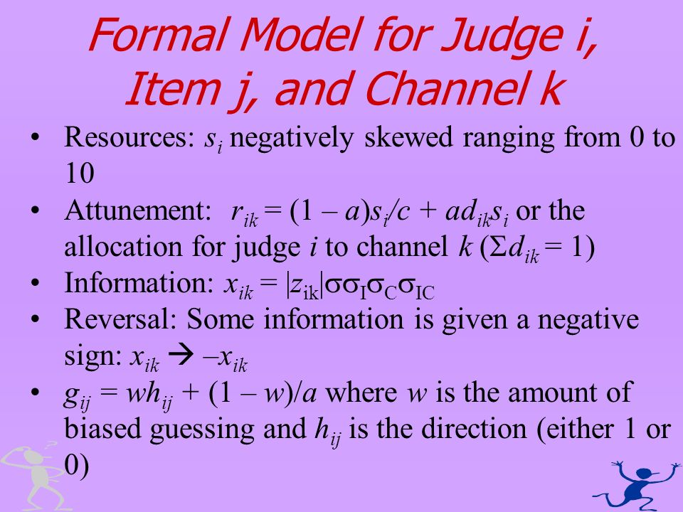 Formal Model for Judge i, Item j, and Channel k Resources: s i negatively skewed ranging from 0 to 10 Attunement: r ik = (1 – a)s i /c + ad ik s i or
