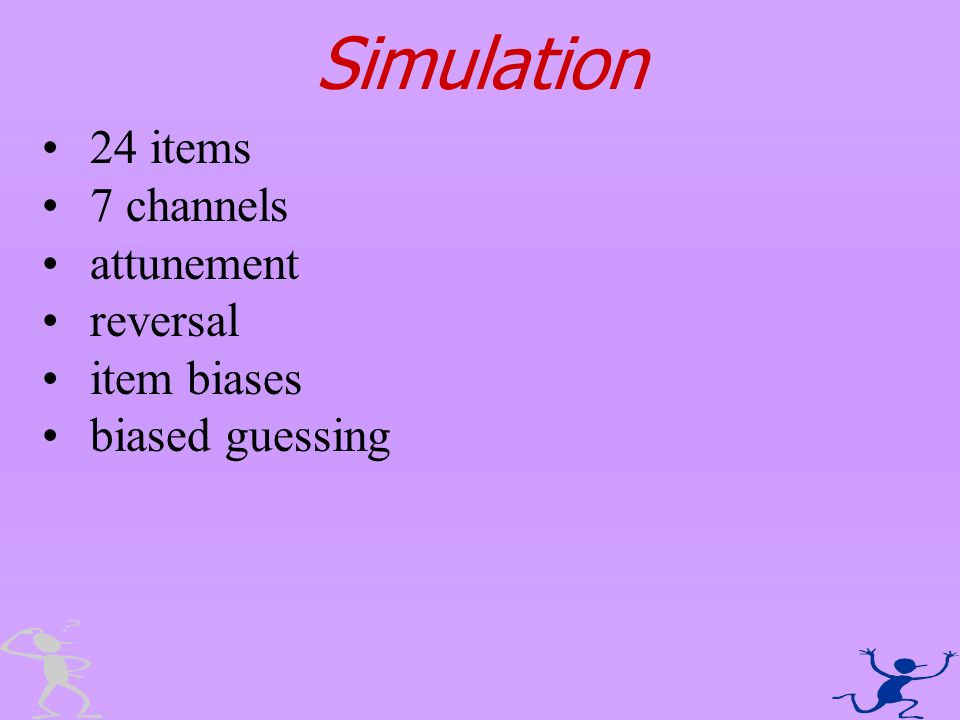 Simulation 24 items 7 channels attunement reversal item biases biased guessing