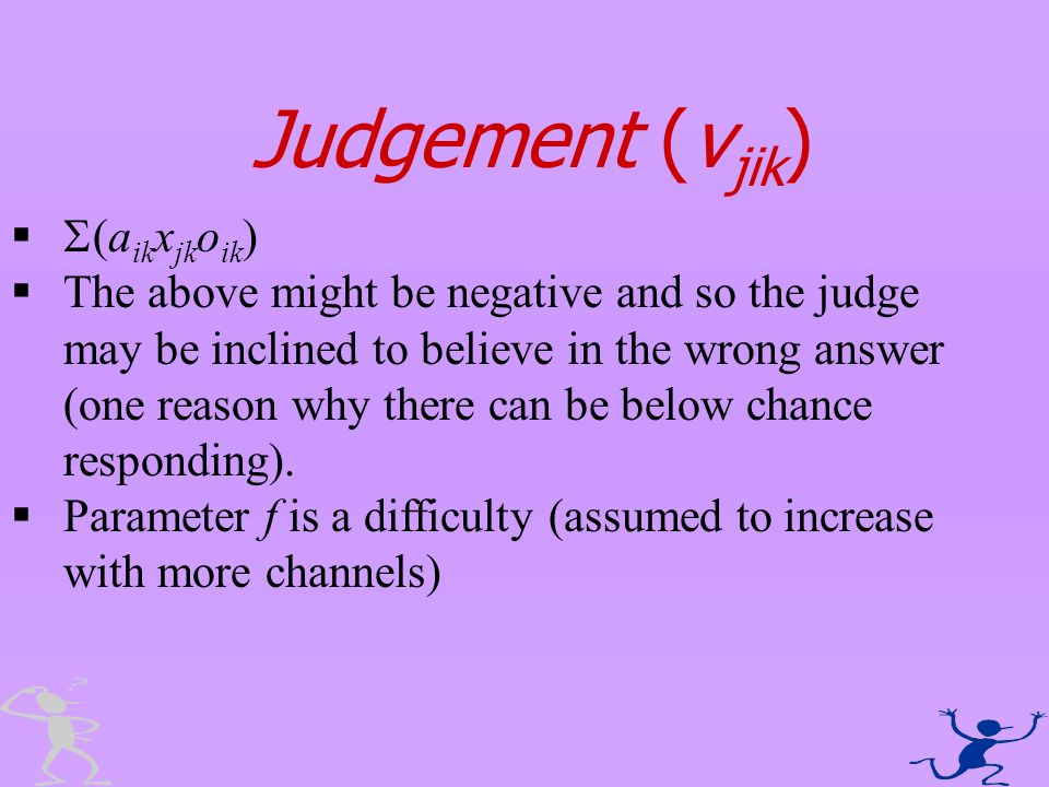 Judgement (v jik ) (a ik x jk o ik ) The above might be negative and so the judge may be inclined to believe in the wrong answer (one reason why there