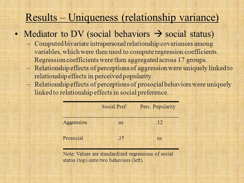 Results – Uniqueness (relationship variance) Mediator to DV (social behaviors social status) –Computed bivariate intrapersonal relationship covariances among variables, which were then used to compute regression coefficients.