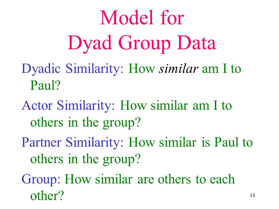 38 Model for Dyad Group Data Dyadic Similarity: How similar am I to Paul? Actor Similarity: How similar am I to others in the group? Partner Similarit