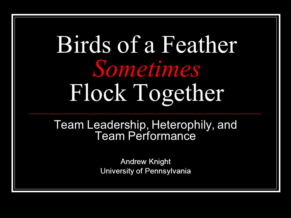 Birds of a Feather Sometimes Flock Together Team Leadership, Heterophily, and Team Performance Andrew Knight University of Pennsylvania