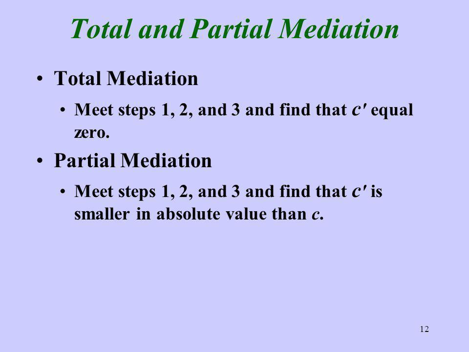 12 Total and Partial Mediation Total Mediation Meet steps 1, 2, and 3 and find that c equal zero.
