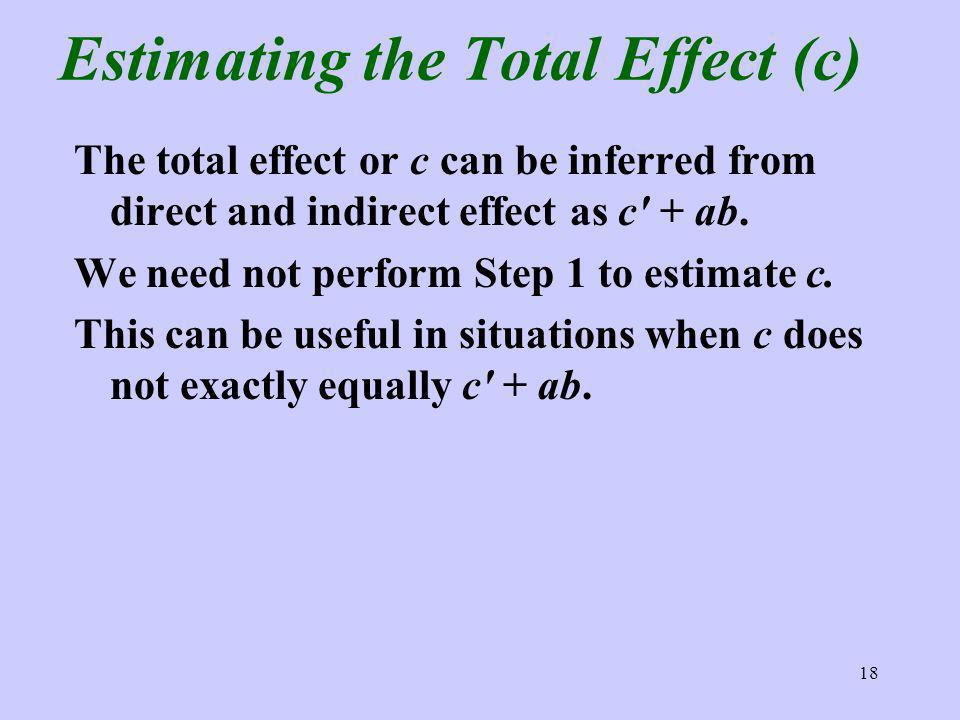 18 Estimating the Total Effect (c) The total effect or c can be inferred from direct and indirect effect as c + ab. We need not perform Step 1 to esti