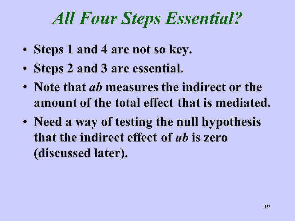 19 All Four Steps Essential. Steps 1 and 4 are not so key.