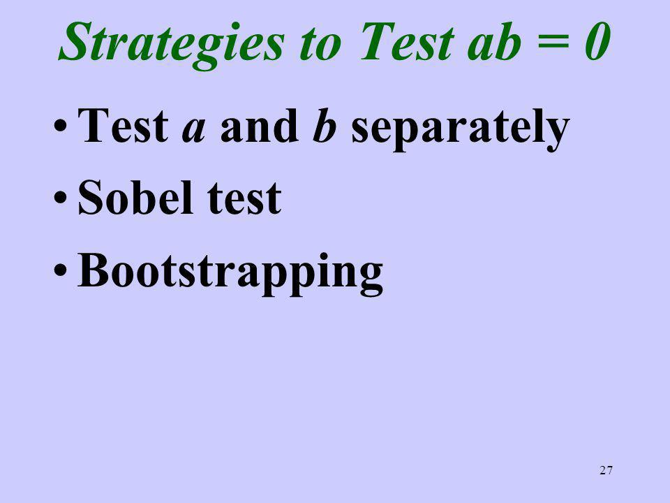 27 Strategies to Test ab = 0 Test a and b separately Sobel test Bootstrapping