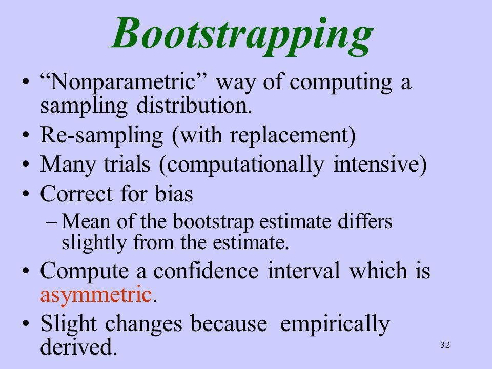 32 Bootstrapping Nonparametric way of computing a sampling distribution.