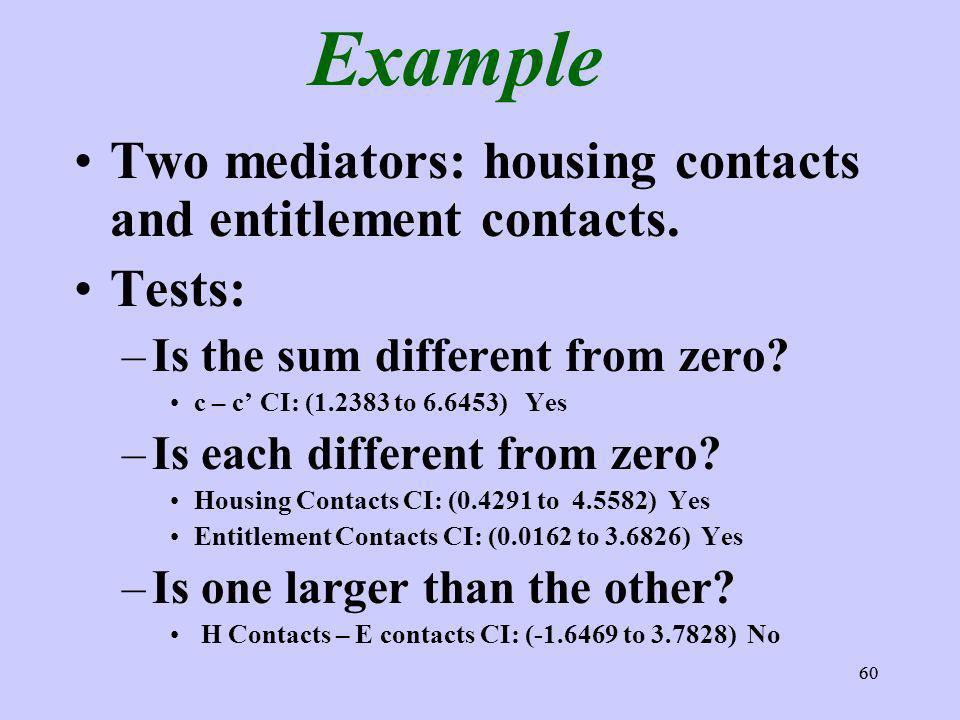 60 Example Two mediators: housing contacts and entitlement contacts. Tests: –Is the sum different from zero? c – c CI: (1.2383 to 6.6453) Yes –Is each