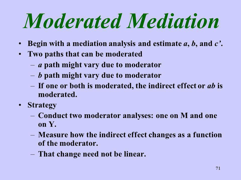 71 Moderated Mediation Begin with a mediation analysis and estimate a, b, and c.