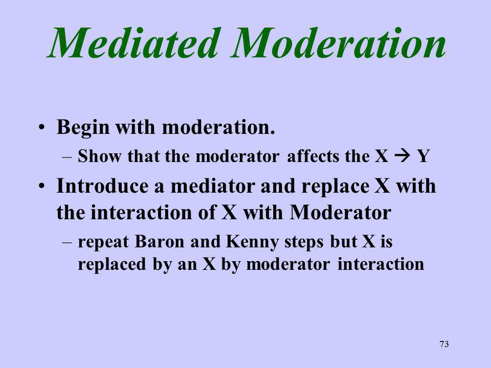 73 Mediated Moderation Begin with moderation. –Show that the moderator affects the X Y Introduce a mediator and replace X with the interaction of X wi