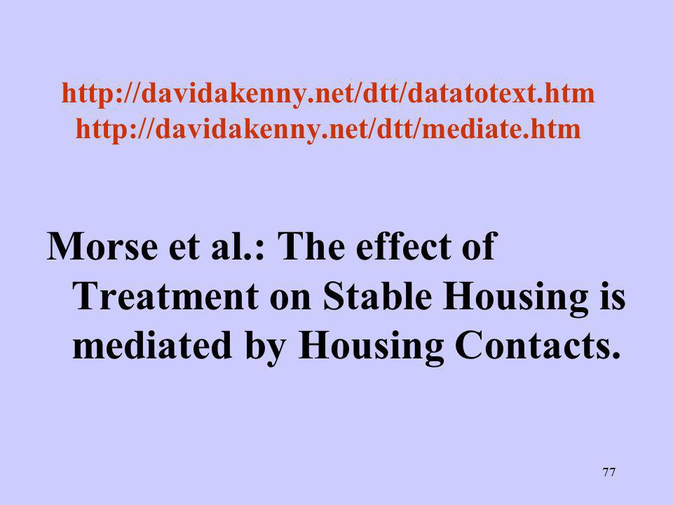 77 http://davidakenny.net/dtt/datatotext.htm http://davidakenny.net/dtt/mediate.htm Morse et al.: The effect of Treatment on Stable Housing is mediate