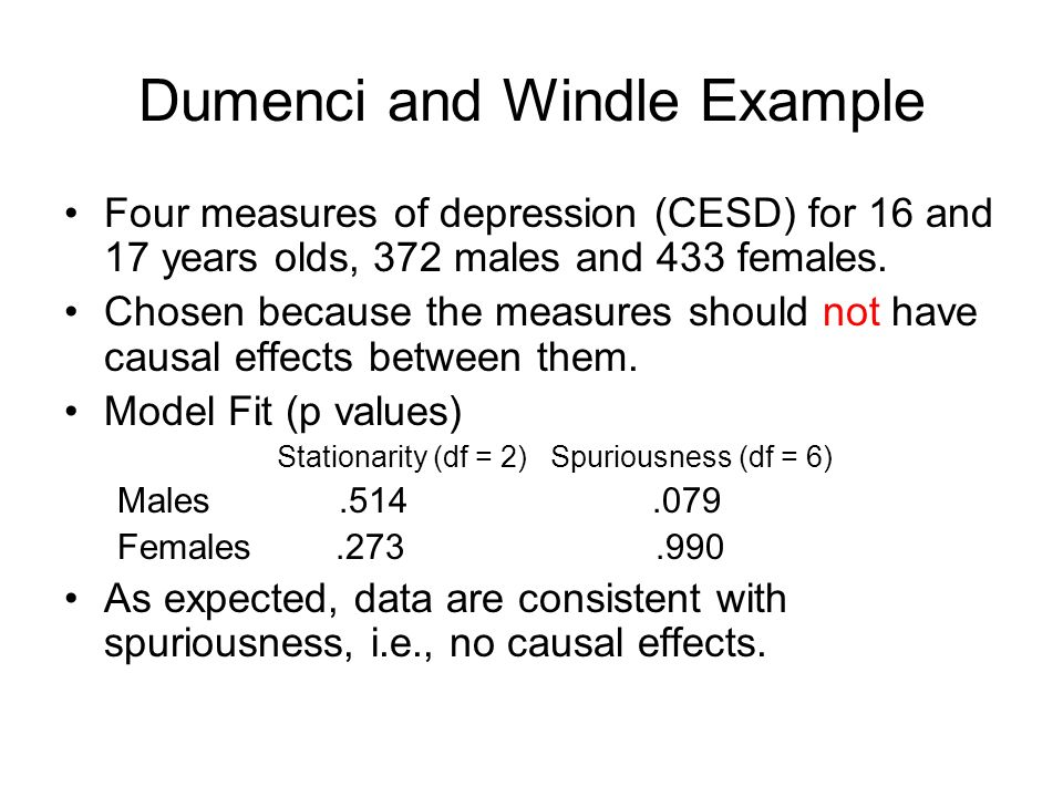 Dumenci and Windle Example Four measures of depression (CESD) for 16 and 17 years olds, 372 males and 433 females. Chosen because the measures should