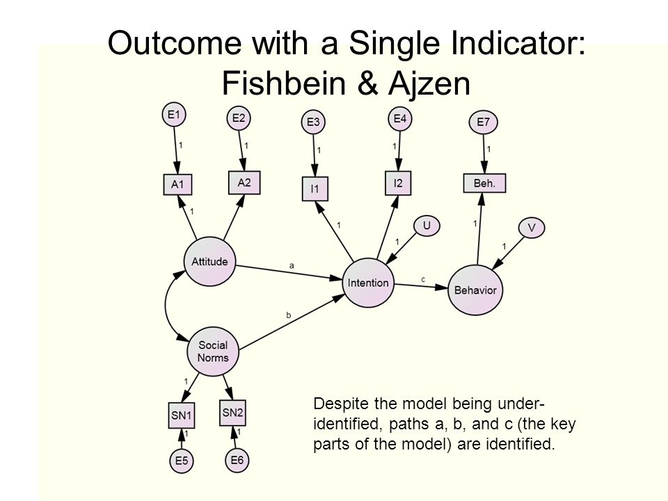 Outcome with a Single Indicator: Fishbein & Ajzen Despite the model being under- identified, paths a, b, and c (the key parts of the model) are identi