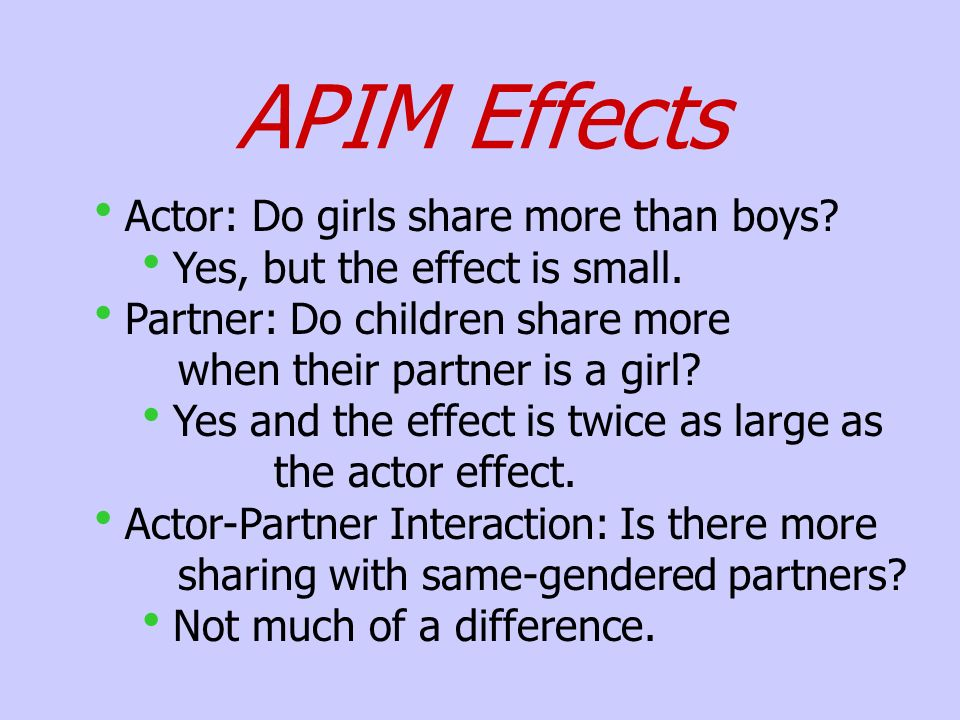 APIM Effects Actor: Do girls share more than boys.