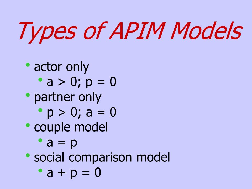 Types of APIM Models actor only a > 0; p = 0 partner only p > 0; a = 0 couple model a = p social comparison model a + p = 0