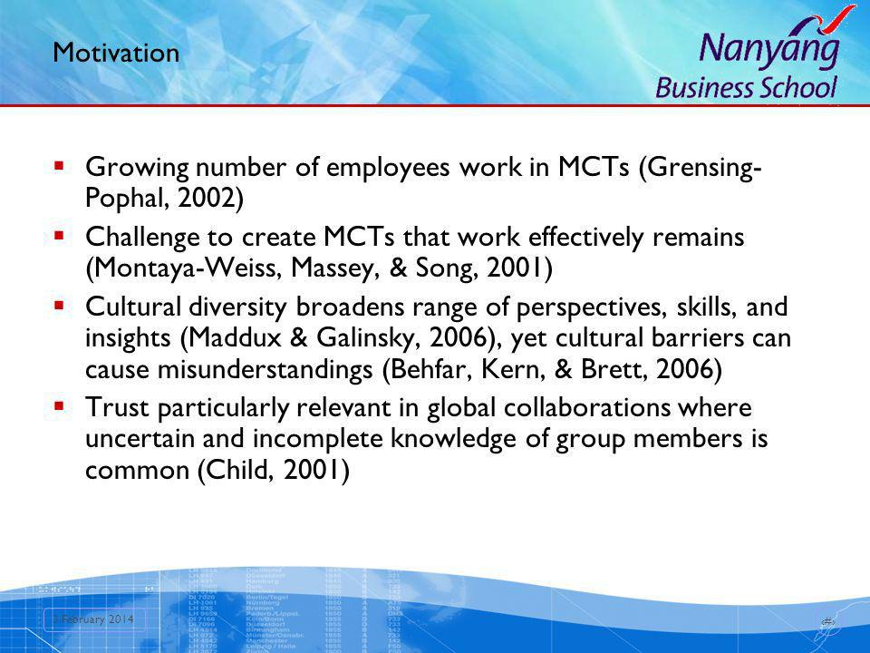 3 3 February 2014 Motivation Growing number of employees work in MCTs (Grensing- Pophal, 2002) Challenge to create MCTs that work effectively remains