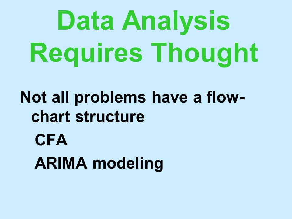 Data Analysis Requires Thought Not all problems have a flow- chart structure CFA ARIMA modeling
