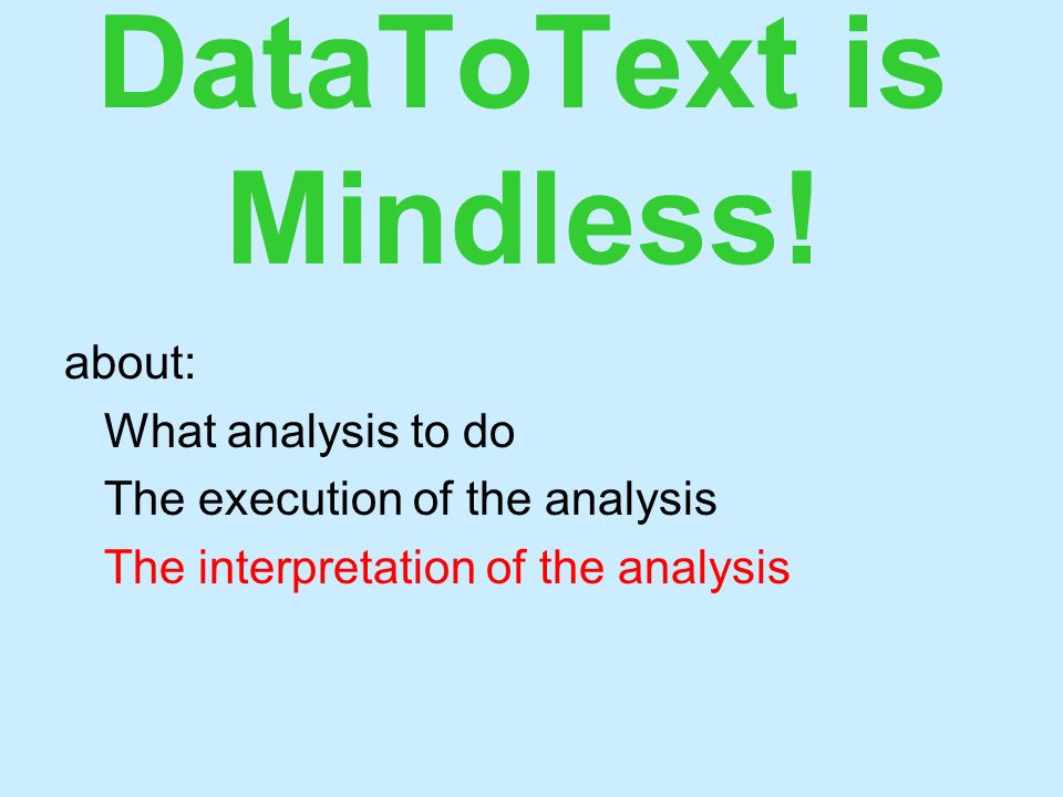 DataToText is Mindless! about: What analysis to do The execution of the analysis The interpretation of the analysis