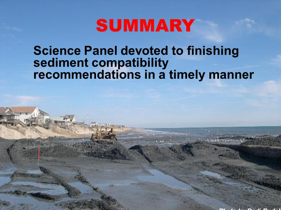 Photo by Rudi Rudolph SUMMARY Science Panel devoted to finishing sediment compatibility recommendations in a timely manner