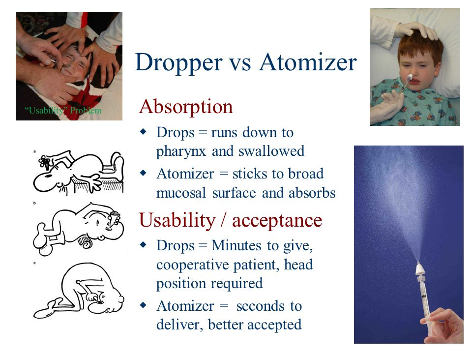Dropper vs Atomizer Absorption Drops = runs down to pharynx and swallowed Atomizer = sticks to broad mucosal surface and absorbs Usability / acceptanc