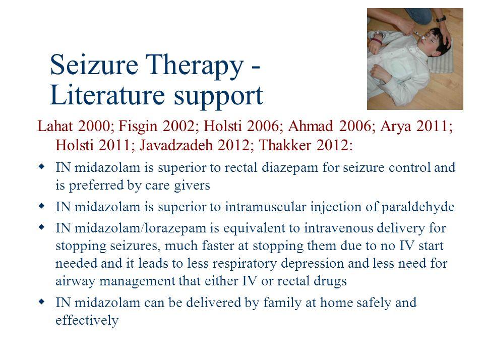 Seizure Therapy - Literature support Lahat 2000; Fisgin 2002; Holsti 2006; Ahmad 2006; Arya 2011; Holsti 2011; Javadzadeh 2012; Thakker 2012: IN midaz