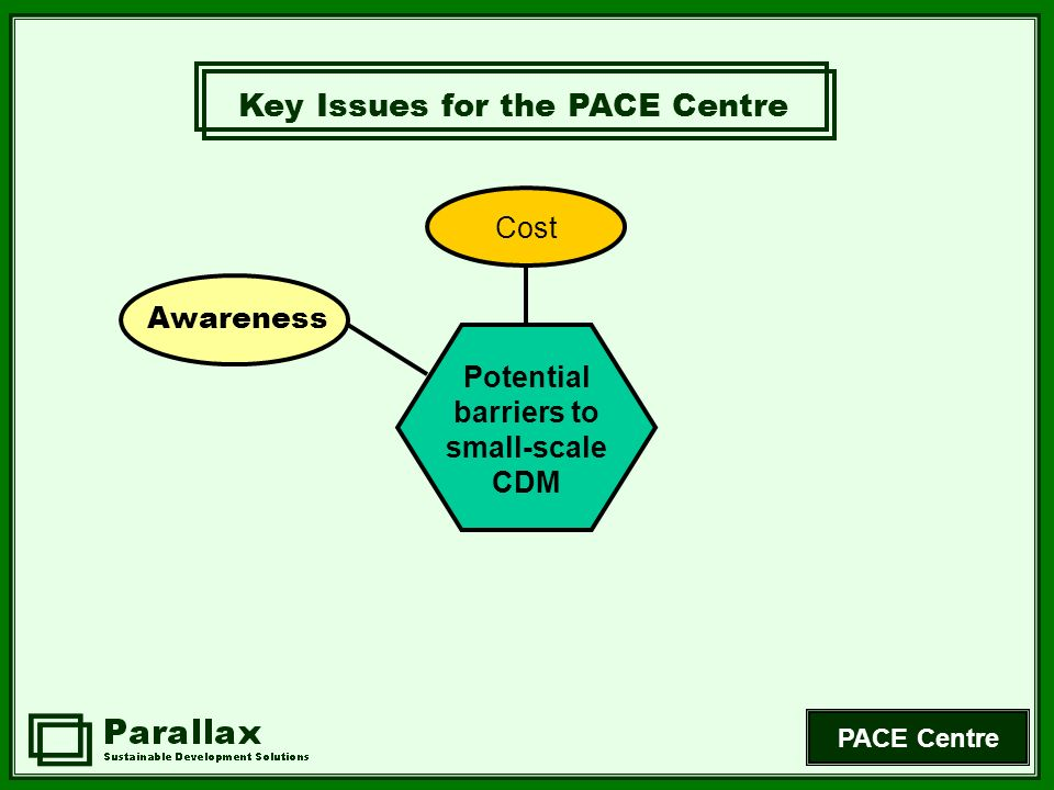 PACE Centre Awareness Cost Potential barriers to small-scale CDM Key Issues for the PACE Centre