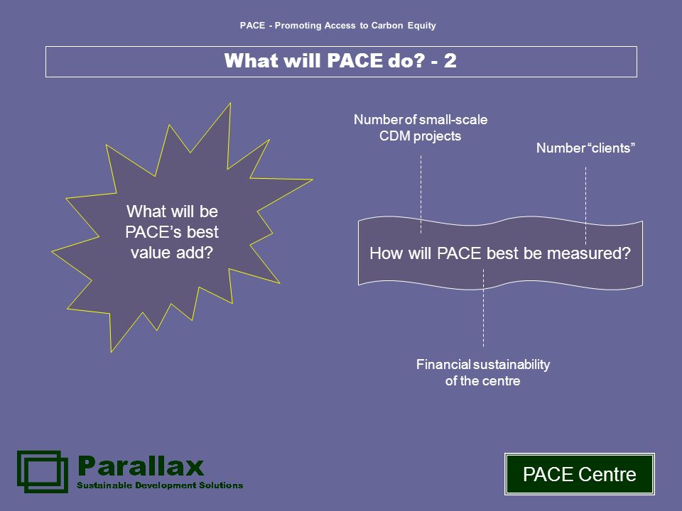 PACE - Promoting Access to Carbon Equity PACE Centre What will PACE do.