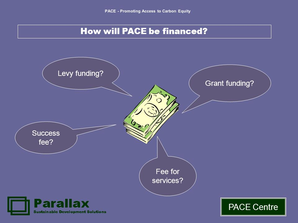 PACE - Promoting Access to Carbon Equity PACE Centre How will PACE be financed.