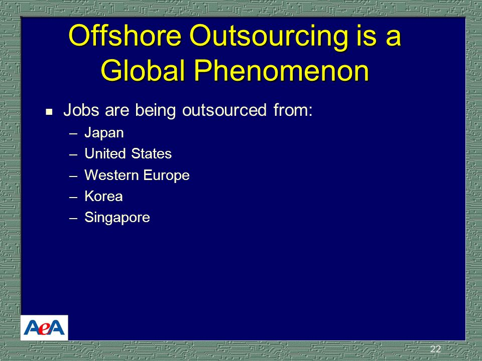 22 Offshore Outsourcing is a Global Phenomenon n Jobs are being outsourced from: –Japan –United States –Western Europe –Korea –Singapore