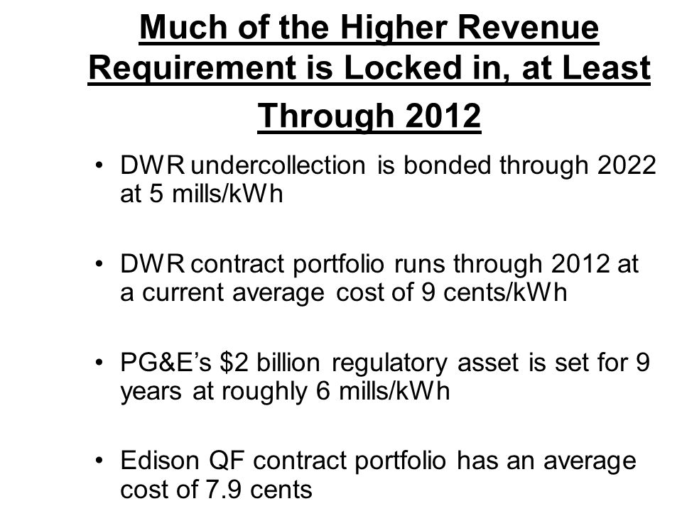 Much of the Higher Revenue Requirement is Locked in, at Least Through 2012 DWR undercollection is bonded through 2022 at 5 mills/kWh DWR contract port