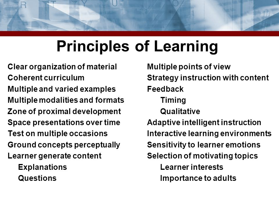 Principles of Learning Clear organization of material Coherent curriculum Multiple and varied examples Multiple modalities and formats Zone of proximal development Space presentations over time Test on multiple occasions Ground concepts perceptually Learner generate content Explanations Questions Multiple points of view Strategy instruction with content Feedback Timing Qualitative Adaptive intelligent instruction Interactive learning environments Sensitivity to learner emotions Selection of motivating topics Learner interests Importance to adults