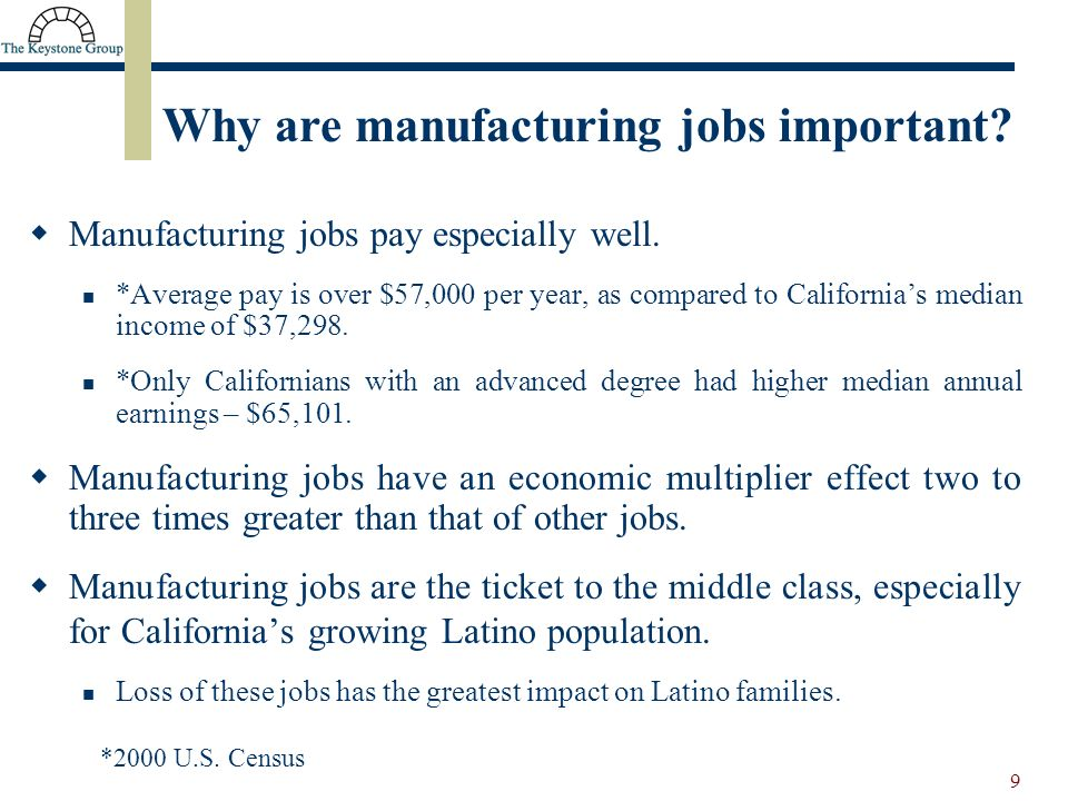 9 Manufacturing jobs pay especially well.