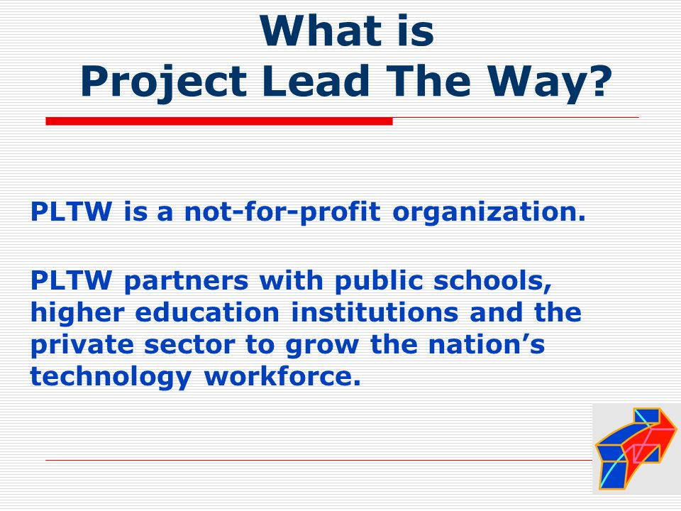 What is Project Lead The Way. PLTW is a not-for-profit organization.