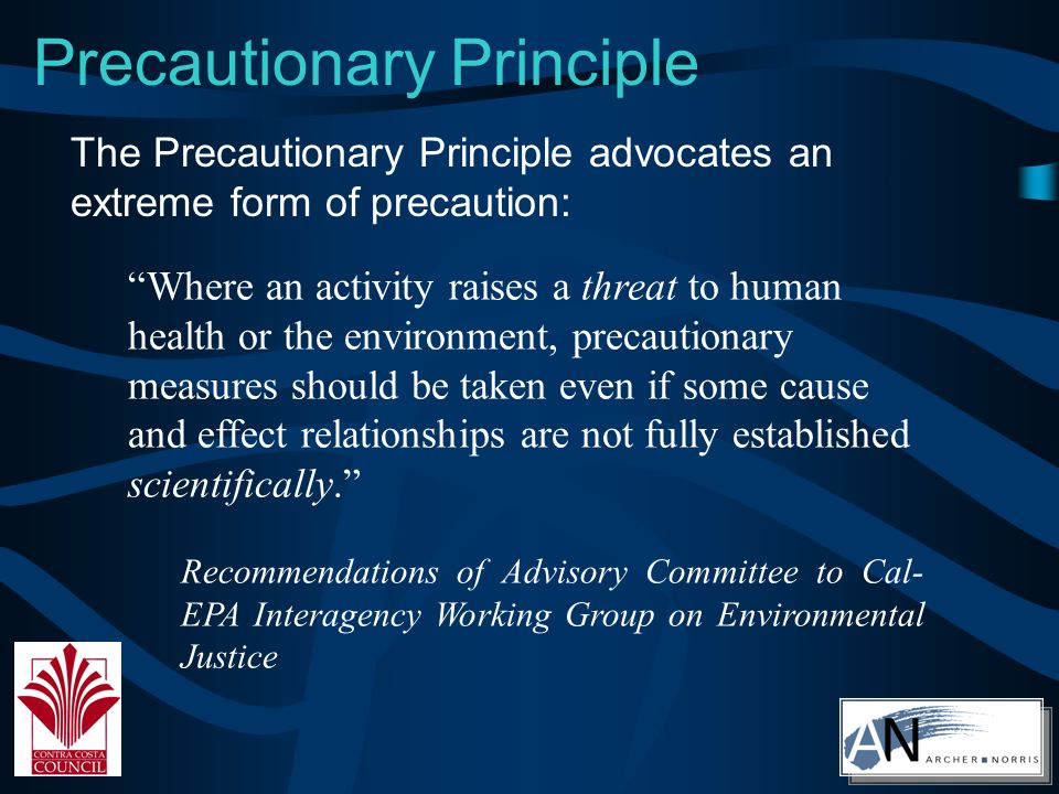 Precautionary Principle Where an activity raises a threat to human health or the environment, precautionary measures should be taken even if some cause and effect relationships are not fully established scientifically.