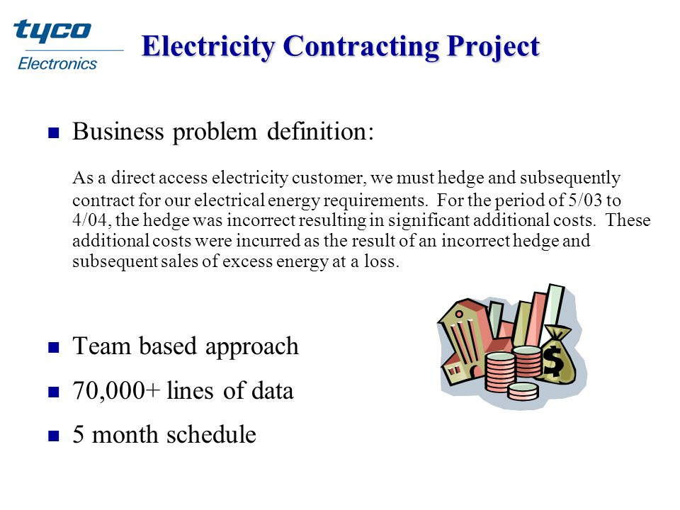 Electricity Contracting Project n Business problem definition: As a direct access electricity customer, we must hedge and subsequently contract for ou