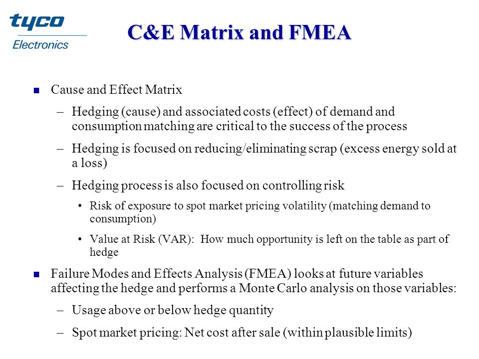 C&E Matrix and FMEA n Cause and Effect Matrix –Hedging (cause) and associated costs (effect) of demand and consumption matching are critical to the su