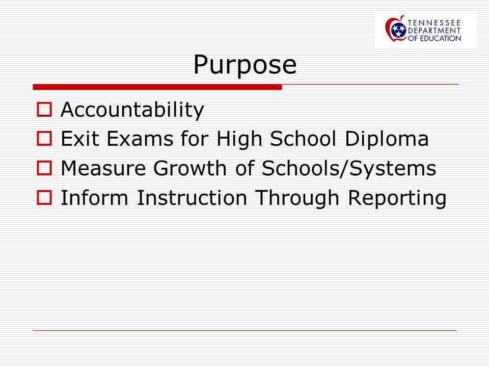 Purpose Accountability Exit Exams for High School Diploma Measure Growth of Schools/Systems Inform Instruction Through Reporting