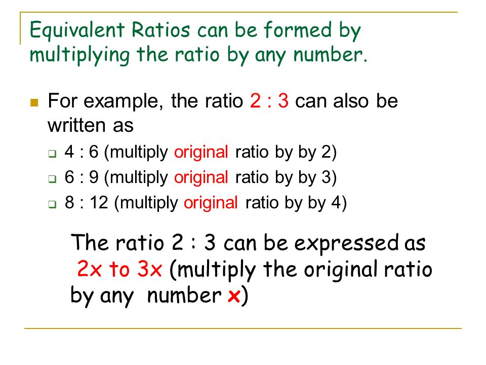 Equivalent Ratios Simplify the following ratios: 4 to 8 10 to 8 8 to 10 Step 1 – Write the ratio as a fraction Step 2 – Simplify the fraction (Find th