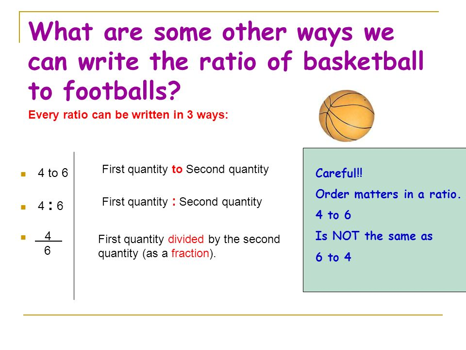 How many basketballs to footballs are there? For every 4 basketballs there are 6 footballs. The ratio is 4 to 6.