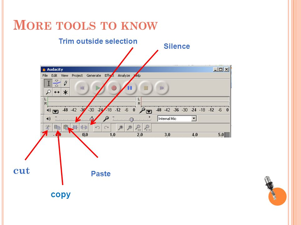 M ORE TOOLS TO KNOW cut copy Paste Trim outside selection Silence