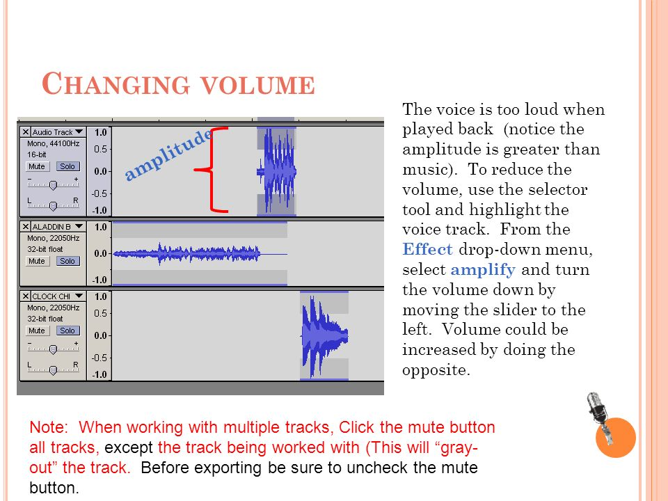 C HANGING VOLUME amplitu de The voice is too loud when played back (notice the amplitude is greater than music).