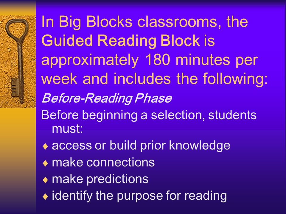 In Big Blocks classrooms, the Guided Reading Block is approximately 180 minutes per week and includes the following: Before-Reading Phase Before begin