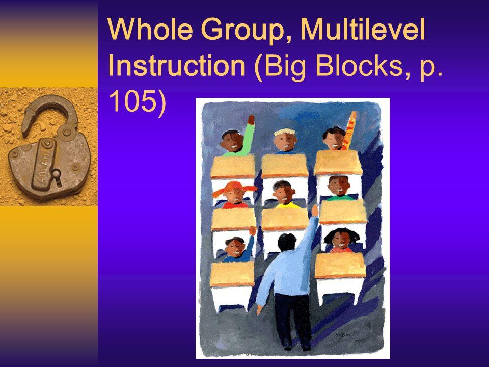 Whole Group, Multilevel Instruction (Big Blocks, p. 105)