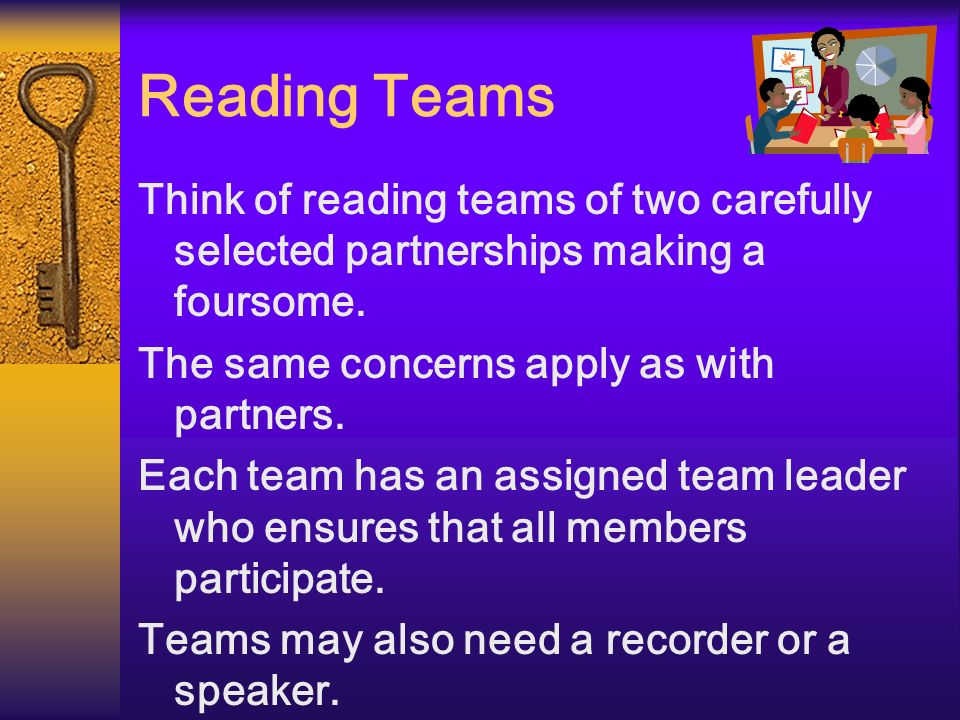 Reading Teams Think of reading teams of two carefully selected partnerships making a foursome. The same concerns apply as with partners. Each team has
