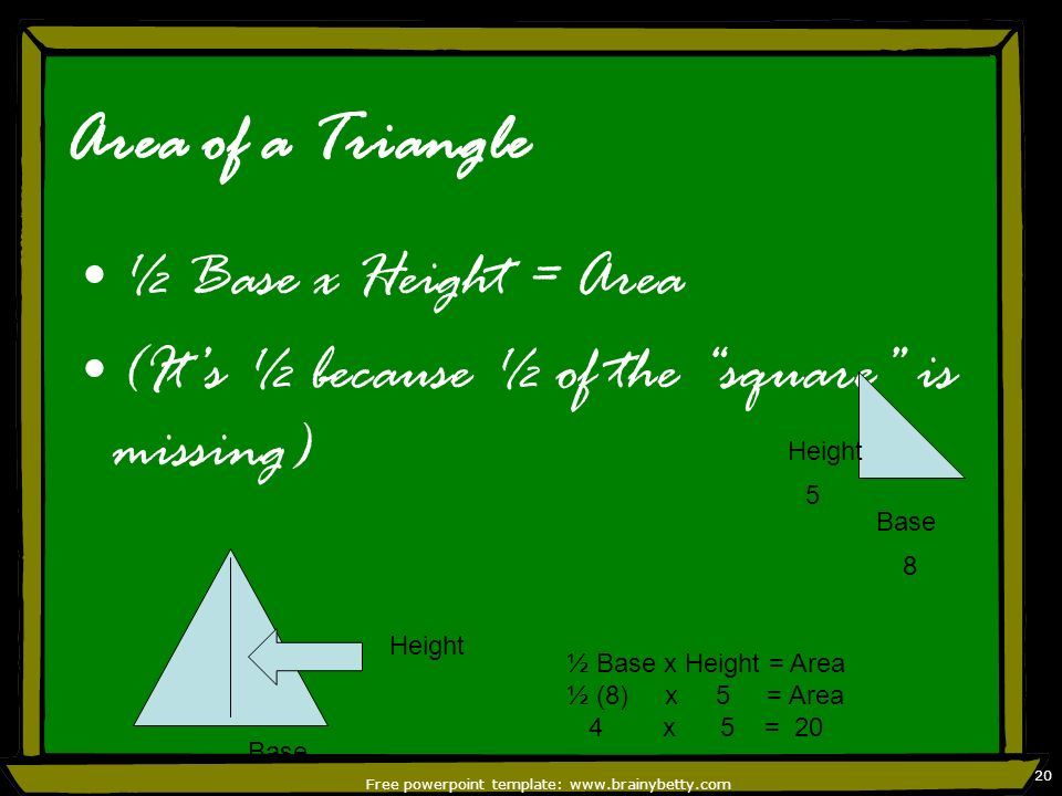 Free powerpoint template: www.brainybetty.com 20 Area of a Triangle ½ Base x Height = Area (Its ½ because ½ of the square is missing) Base Height Base
