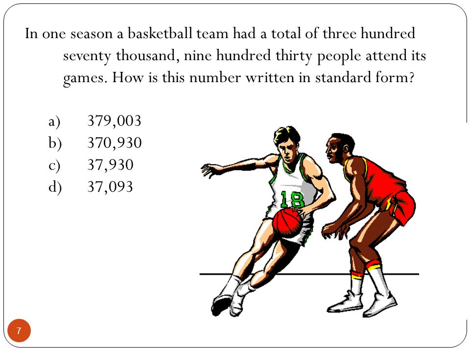 In one season a basketball team had a total of three hundred seventy thousand, nine hundred thirty people attend its games. How is this number written
