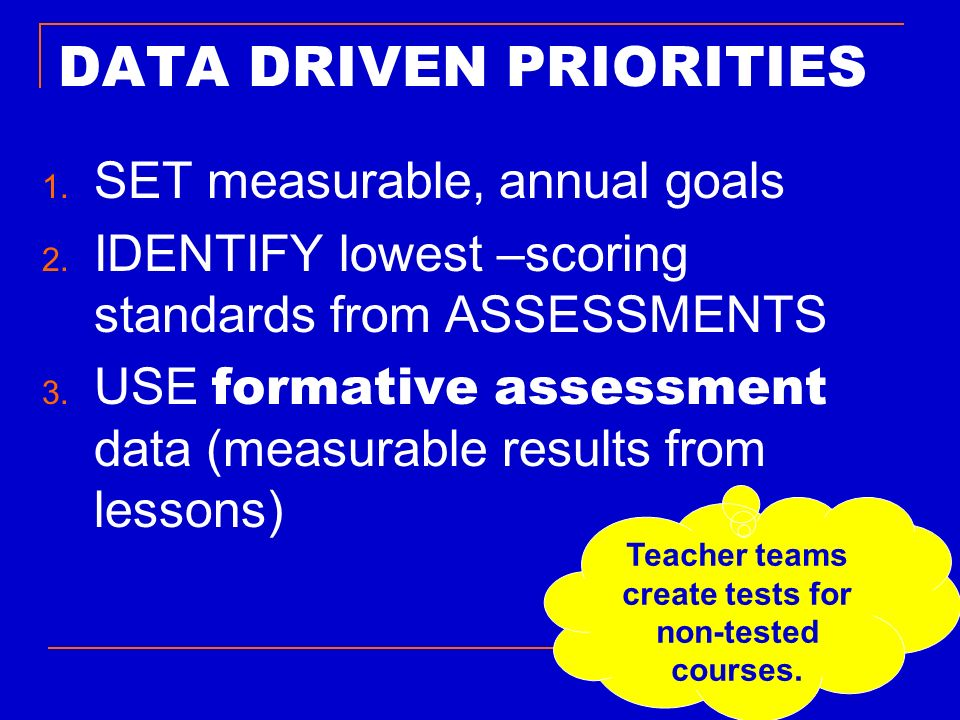 DATA DRIVEN PRIORITIES 1. SET measurable, annual goals 2. IDENTIFY lowest –scoring standards from ASSESSMENTS 3. USE formative assessment data (measur