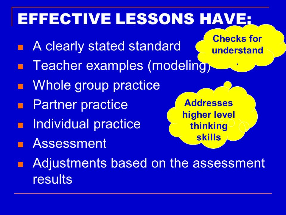 EFFECTIVE LESSONS HAVE: A clearly stated standard Teacher examples (modeling) Whole group practice Partner practice Individual practice Assessment Adj